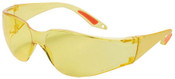 Yellow Wrap Around Lens Safety Glasses w/ Side Shields (12 Pairs)