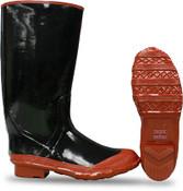 "BOSS 15"" Black Rubber Knee Boot, Plain Toe, Bar Tread Sole, Size: 9 (1 Pair)"