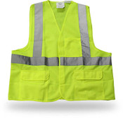 Poly Solid Green Safety Vest, 3 Pockets, Break Away, Reflective Tape, Class II,  Large (6 Vests)