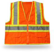 Orange High Visibility Safety Vest w/ Pockets, Class II, ANSI/ISEA 107-2004, Large (6 Vests)