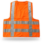 Break-Away Fluorescent Orange Safety Vest w/ Reflective Tape, Large (6 Vests)