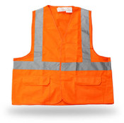 Poly Solid Orange Safety Vest, 3 Pockets, Break Away, Reflective Tape, Class II,  Large (6 Vests)