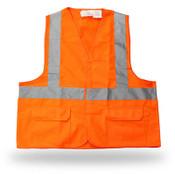 Poly Solid Orange Safety Vest, 3 Pockets, Break Away, Reflective Tape, Class II,  X-Large (6 Vests)
