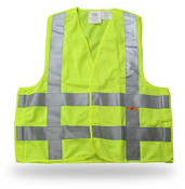 Break-Away Fluorescent Green Safety Vest w/ Reflective Tape, Large (6 Vests)