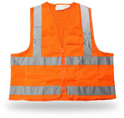 Poly Mesh Orange Safety Vest, 3 Pockets, Zip Closure, Reflective Tape, Class II, ANSI/ISEA 107-2004, Small (6 Vests)