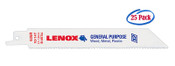 Lenox 6 x 3/4 x .05 General Purpose Bi-Metal Reciprocating Saw Blades, 10 TPI (25/Bulk Pkg.)