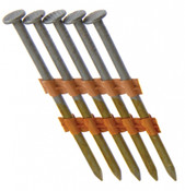"2"" x .113"" 21-Degree Plastic Strip Round Head Nails - Bright Coated, Smooth Shank (2,500 Pcs./Box), Grip Rite #GR03L"