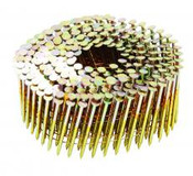 "2-1/2"" x .120"" 15-Degree Wire Coil Nails - Bright Coated, Screw Shank (1,000 Pcs./Box), Grip Rite #GRC8R99D"