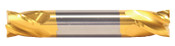 """9/32"""" Cut Dia x 1/2"""" Flute Length x 2-1/2"""" OAL Solid Carbide End Mills, Stub Length, Double End Square, 2 Flute, TiN Coated (Qty. 1)"""