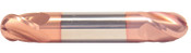 """3/8"""" Cut Dia x 9/16"""" Flute Length x 2-1/2"""" OAL Solid Carbide End Mills, Stub Length, Double End Ball, 2 Flute, TiCN Coated (Qty. 1)"""