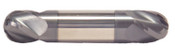 "3/8"" Cut Dia x 9/16"" Flute Length x 2-1/2"" OAL Solid Carbide End Mills, Stub Length, Double End Ball, 2 Flute, AlTiN - Hard Coat (Qty. 1)"