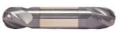"7/32"" Cut Dia x 3/8"" Flute Length x 2-1/2"" OAL Solid Carbide End Mills, Stub Length, Double End Ball, 4 Flute, AlTiN - Hard Coat (Qty. 1)"