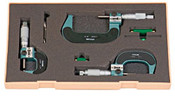 "Mitutoyo Series 193 Digital Outside Micrometer Set, 0-3"" (Set of 3)"