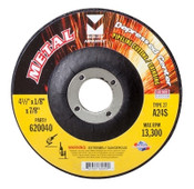 "4-1/2"" x 1/8"" x 7/8"" A24S T27 Depressed Center Pipe Cutting and Grinding Wheel - Single Grit, Mercer Abrasives 620040 (25/Pkg.)"