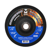 "4-1/2"" x 1/4"" x 7/8"" AT24R T27 Depressed Center Grinding Wheel for Stainless Steel - Single Grit, Mercer Abrasives 623510 (25/Pkg.)"