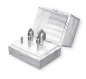"Solid Carbide Countersink Set, Single Flute, 90 Degree (1/4"", 3/8"", 1/2"" & 1"" w/ Wood Box)"