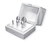 """Solid Carbide Countersink Set, 6 Flute, 100 Degree (1/4"""", 3/8"""", 1/2"""", 3/4"""" & 1"""" w/ Wood Box)"""