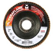 """CeraFlame Type 29 Premium Ceramic Flap Discs - 4-1/2"""" x 7/8"""", Grit: 120, Mercer Abrasives 349120 (10/Pkg.)"""