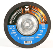 "7"" x 1/8"" x 5/8""-11 AT24R T27 Depressed Center Pipe Cutting and Grinding Wheel for Stainless Steel - Single Grit, Mercer Abrasives 623680 (10/Pkg.)"