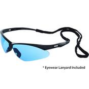 Octane Wraparound Safety Glasses w/Lanyard, Black Frame/Blue Lens 15329 (12 Pr.)