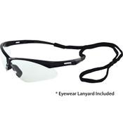 Octane Wraparound Safety Glasses w/Lanyard, Black Frame/Clear Lens 15324 (12 Pr.)
