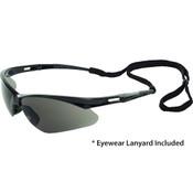 Octane Wraparound Safety Glasses w/Lanyard, Black Frame/Gray Lens 15326 (12 Pr.)