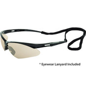 Octane Wraparound Safety Glasses w/Lanyard, Black Frame/In-Out Mirror Lens 15330 (12 Pr.)