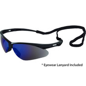 Octane Wraparound Safety Glasses w/Lanyard, Black Frame/Blue Mirror Lens 15332 (12 Pr.)