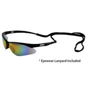 Octane Wraparound Safety Glasses w/Lanyard, Black Frame/Hi-Res Red Lens 15333 (12 Pr.)