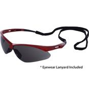 Octane Wraparound Safety Glasses w/Lanyard, Red Frame/Gray Lens 15334 (12 Pr.)