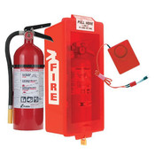5 lb ABC Pro Line Fire Extinguisher w/ Mark I Jr. Cabinet, Red Tub/Red Cover and Cabinet Alarm, Red