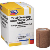 "Cohesive Elastic Bandage, 3"" x 5 yd, 4 Rolls/Box"