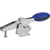 Kipp M6x35 Stainless Steel Horizontal Toggle Clamp with Flat Foot and Adjustable Clamping Spindle (1/Pkg.), K0660.106001