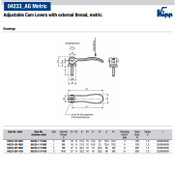 Kipp M4X15 Cam Lever, Adjustable, External Thread, Steel, Aluminum Handle, Size 0 (1/Pkg.), K0006.0501104X15