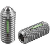 "Kipp 3/8""-16 Spring Plungers, LONG-LOK, Ball Style, Hexagon Socket, Stainless Steel, Standard End Pressure (5/Pkg.), K0326.A4"