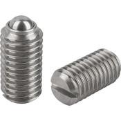 "Kipp 1/4""-28 Spring Plungers, Ball Style, Slotted, Stainless Steel, Standard End Pressure (25/Pkg.), K0310.AJ"
