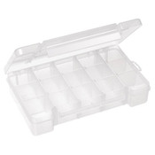 "Plastic Storage Case, 15 Compartments, 11""L x 2 3/8""H x 7""W"