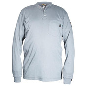 Max Comfort FR Long Sleeve Henley Shirt, Gray, 2X-Large