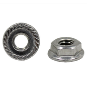 "1/4""-20 Hex Flange Nuts Serrated 18-8 Stainless Steel (100/Pkg.)"