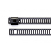 """12"""" Black Polyester Coated Ladder Style 316 Stainless Steel Cable Ties 150 lb. (100/Bag)"""