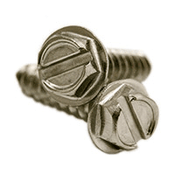 "#10 x 1"" Slotted Hex Washer Head Self Tapping Screws Type A, 316 Stainless Steel (2500/Bulk Pkg.)"