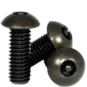 "#10-32 x 3/4"",(FT) Button Head Socket Cap Tamper Resistant Screw with Pin, Alloy Black Oxide (100/Pkg.)"