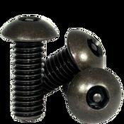 "#10-32 x 3/4"",(FT) Button Head Socket Cap Tamper Resistant Screw with Pin, Alloy Black Oxide (100/Pkg.)"