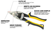 Notch Cut Proferred Aviation Snips, Tpr Grip