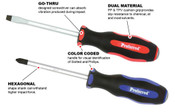 "No. 3 (Phillips) X6"" Blue Pp & Black Tpv Handle Proferred Go-Thru Screwdriver"