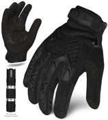 M - EXO Tactical Impact Black w/Flashlight | EXOT-IBLK-03-M | IRONCLAD TACTICAL GLOVES (12/Pkg.)