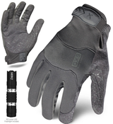 M - EXO Tactical Operator Grey w/Flashlight | EXOT-GGRY-03-M | IRONCLAD TACTICAL GLOVES (12/Pkg.)