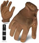 M - EXO Tactical Operator Coyote w/Flashlight | EXOT-GCOY-03-M | IRONCLAD TACTICAL GLOVES (12/Pkg.)