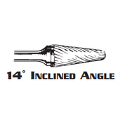 14° INCLINED ANGLE CARBIDE BURR SL-4 DOUBLE CUT 1/2 x 1-1/8 x 1/4 (1/Pc.)