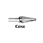 CONE SHAPE CARBIDE BURR SM-2 ALUMINUM CUT 1/4 x 3/4 x 1/4 (1/Pc.)